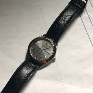Seiko stainless steel leather watch